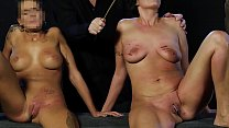 Blonde slut and chubby slave whipped with equal... Thumbnail