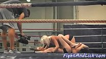 Wrestling lesbo babe licking babes pussy