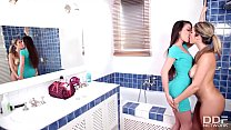 babes get wild with lesbian sex in the shower