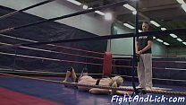 Euro dykes wrestling naked in a boxing ring Thumbnail
