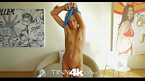 Tiny4K Petite blonde swallows and takes huge co... thumb