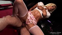 Beautiful blonde model takes cock on the pool t...