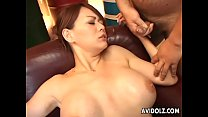 toy fucking the brunette milf then cumming all over her tits