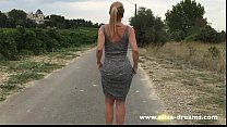 Strip tease and flashing nude on the road