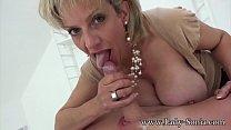 Hot Euro MILF jerks off hung stud and savors hi...