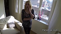 Pale blonde amateur fucks fake cop pov