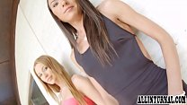 Creampie action for a hot babe in FFM threesome thumb