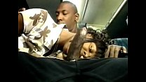Black stud gets his huge cock sucked by ebony slut on the back seat of a bus Thumbnail