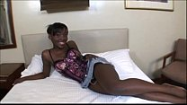 Ebony teen Aurora Jolie delivers a kiss and a bj to a white cock  925210
