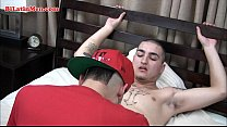 Latin gay boy's uncut cock