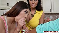 Lisa Ann and Ava Taylor shared a hard cock on t...