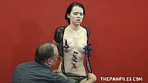 Teen painslut punished and whipped in the dunge...