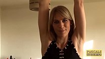 Punished british swallow warm cum of her big di...