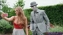 Busty chick fucks a living statue performer outdoors Thumbnail
