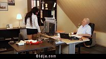 too horny to work sexy secretary gives blowjob for old boss cock