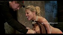 Blonde whore immobilized in kinky sex Thumbnail