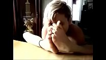 Girl sniffs her stinky feet Thumbnail