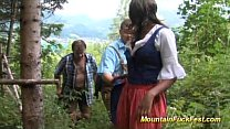threesome mountain in girl Black