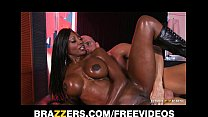 Curvy Ebony masseuse oils herself up for some d... Thumbnail