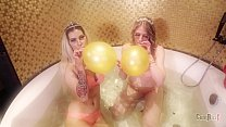 2 hot blondes taking balloons Dirty Dutch party...