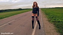 Jeny Smith public nudity on the road Thumbnail