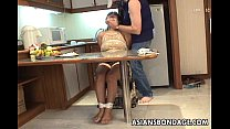 Mature brunette with big boobs tied up and grop...
