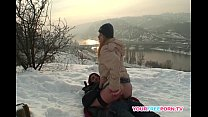 blonde wife warms stranger s cock in the snow