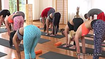 Yoga trainer bangs slim blonde hottie
