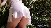 Exhibitionist Blonde Sunbathes Topless By Her Bush - Trailer for 4K Video