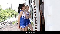 bffs   hot cheer babes suck and fuck coach