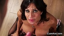 Hot model gets cumshot on her face gulping all ...