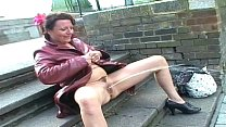 Upskirt public masturbation and nude outdoor fl...