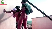 Enjoys in the terrace. MILF caught with a hidde...