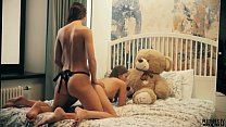 2 Lesbians college roommates have sex in front of teddy bear with a strapon dildo and receives cumshot in mouth. This is free preview trailler from Plushies TV starring Eve S and Rebeka Ruby and plush toy teddy bear Brownie with big black cock