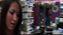 fun in toy store with girl