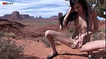 zoe rush skinny teen outdoor pissing monument valley long hair cutie