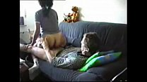 husband fucks maid on the couch