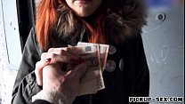 pretty red haired czech girl banged and facialed for money