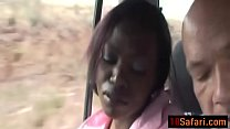 African honey enjoys blowing white cock in care...