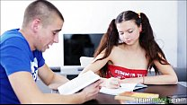 studying makes pigtailed teen horny for dick