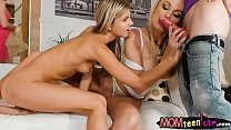 Cute teen slut and her stepmom hot 3some
