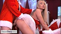 Busty blonde babe pounded by bad santa