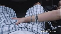 Assy perky teen pounded on backseat