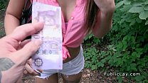 Tattooed amateur teen bangs in the woods pov