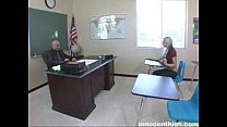 Sexy blonde  teen lays on desk and get fucked by her teacher