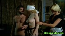 orgy an in pleasured blonde Blindfolded