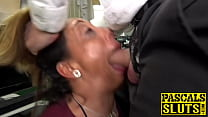 Submissive UK MILF chokes on a dildo and receiv...
