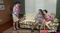 Busty stepmom have sex with teen couple in the …