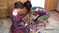 tattooed redheads indigo and lavender get erotic with paint