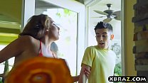 Young guy gets lucky with three MILFS at this b...